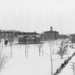 Campus winter scene as viewed from the Science Hall (now John Bertram), circa 1910.