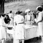 Not your typical backyard picnic—reception for grads, alums and parents held in the President's backyard, 1946.