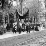 Lining up for alumni parade, 1940.