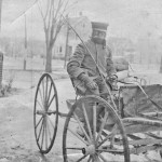 "Through rain, sleet and snow — George Faunce, the first ""mounted"" mailman, c. 1905."