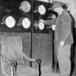 Keeping the heating plant running smoothly — Director of Maintenance, Al Johnson, 1957.