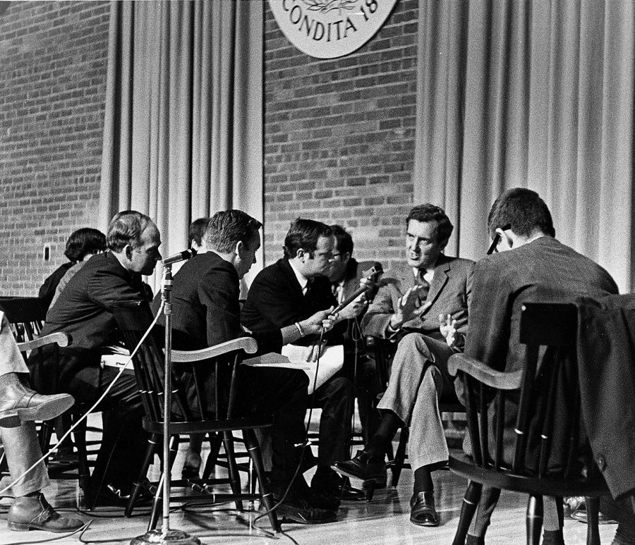 U.S. Sen. Edmund Muskie is interviewed by the media during his visit to Bates to deliver an address on the Vietnam Moratorium, Oct. 15, 1969. (Muskie Archives and Special Collections Library)