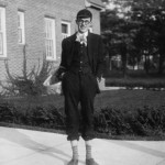 This student probably wasn't dressed for a trip into town—freshmen hazing, circa 1930's.