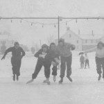 Batesies jockey for position during an ice skating race on Garcelon field; 1939.