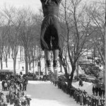 Robert Ireland '40 thrills the expectators as he flies off the ski jump.