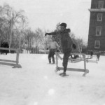 In the early 30's, men's hurdles took on a whole new look when the participants wore snowshoes.