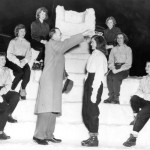 Before she mounts her ice throne, President Phillips crowns Geraldine Moulton queen of the 1950 Winter Carnival.