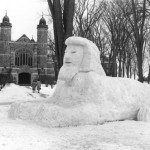 A snow sphinx silently guards the Chapel entrance; 1957.