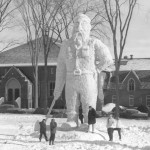 In 1962 Paul Bunyan, apparently having exhausted the lumber supply in Minnesota, is welcomed to Maine.