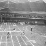 Bates closes out its first undefeated indoor track season by beating MIT in Gray Cage, February 1958.