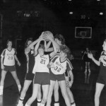 In a 1986 incarnation of a heated rivalry that continues to this day, Bates women battle ferociously for the ball against Bowdoin.