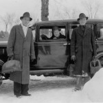 In March 1935, using Brooks Quimby's car, these debaters leave the snow drifts behind as they set off on their Florida tour.