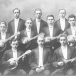 Making melodious music with their voices and mandolins—Men's Glee Club and Mandolin Club, circa 1902.