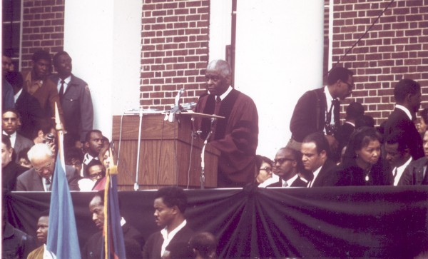 Benjamin Mays '20, then recently retired as president of Morehouse College, delivers the final eulogy for the Rev. Martin Luther King Jr. at Morehouse on April 9, 1968. Photograph courtesy of Baylor University.