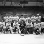The Bates icers of 1974-1975 pose with their coaching staff.