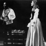 Roger Koami brims with emotion in the lead role of a March, 1980 production of Othello, while Margaret Emley looks on.