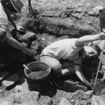 "Students measure depth during ""dig"" at Arrowsic, ME, 1978."