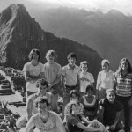Members of a Short Term trip to Peru and Ecuador pose in front of a stunning backdrop, 1980.