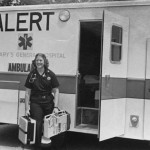 Patricia Strohla '83 looks ready for action as she interns as an EMT for St. Mary's Hospital.