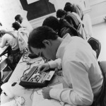 This '83 short term course on Digital Design and Computer Architecture has these students wired!