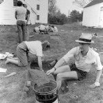 "Students in Prof. Jim Leamon's Historical Archeology short term course, roll up their sleeves and ""dig"" in; Arrowsic, ME, 1985."