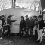 Prof. Roy Farnsworth and the students in his short term geology field course, Geology 320, prepare to hit the road in search of classical geologic and mining sites in 1969.