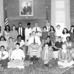"""Ed Muskie poses with his """"scholars,"""" 1992."""