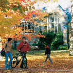 Now: (October) Stunning foliage and people in motion continue to define the historic Quad in autumn.   Photograph by David McLain.