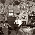 Then: (April) From the banjo and fiddle on the desk to the snowshoes on the wall, these students, like their counterparts before and since, have made their dorm room a canvas for self-expression.  Photographer unknown, circa 1907, gelatin silver print, the Edmund S. Muskie Archives and Special Collections Library.