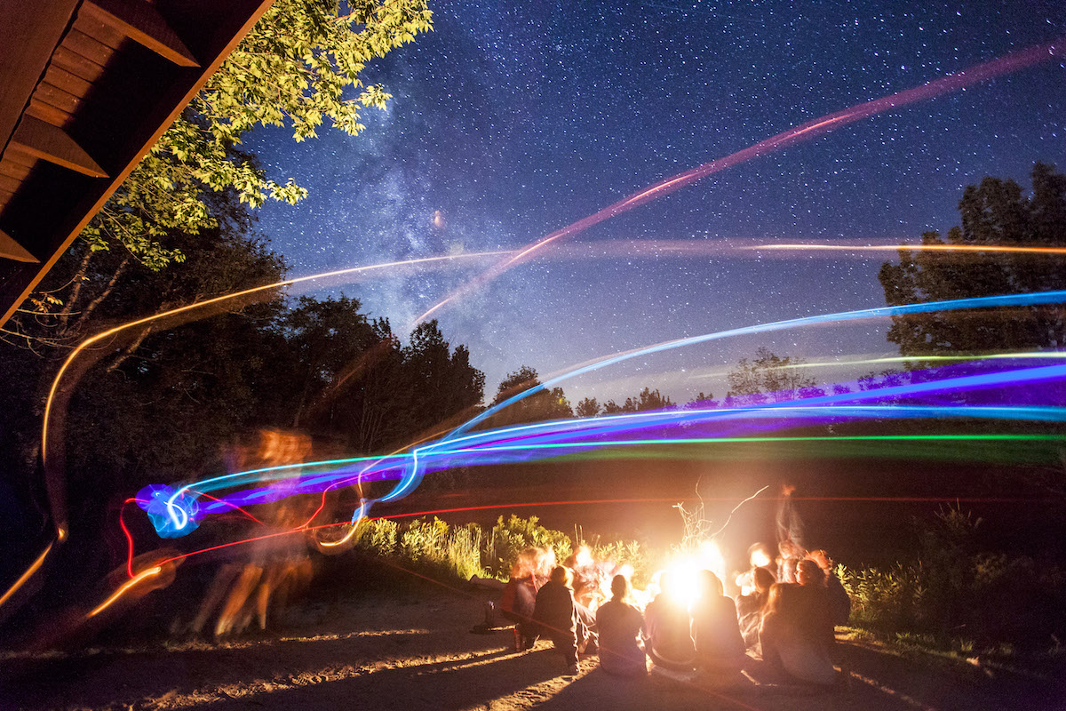 AESOP trips Mt. Blue 1 and Mt. Blue 2 enjoy a game of light up frisbee over the campfire and under the stars