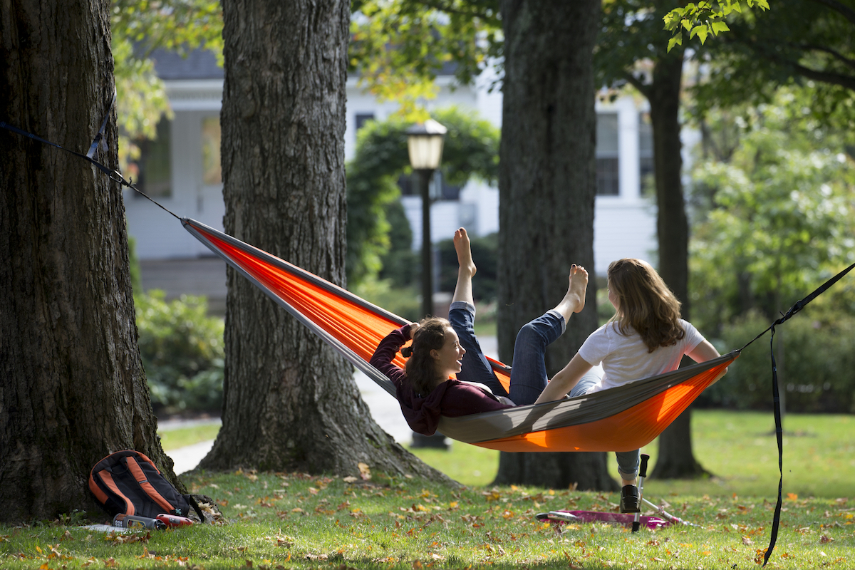 A warm and sunny day in September on the Historic Quad.Annie Gundeck '21 of Lagrangeville, N.Y., and Esme Goldfinger '21 of Lexington, Mass., collapse in laughter after tumbling out of a hammock they borrowed drom a friend on the Historic Quad.