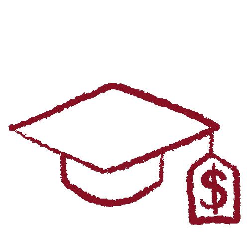 Hand drawn graduation cap in garnet