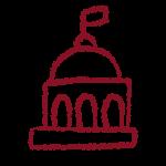 Hand drawen academic cuppola icon in garnet