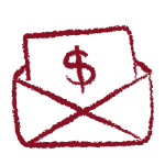 Hand drawn envelope with financial aid letter in garnet
