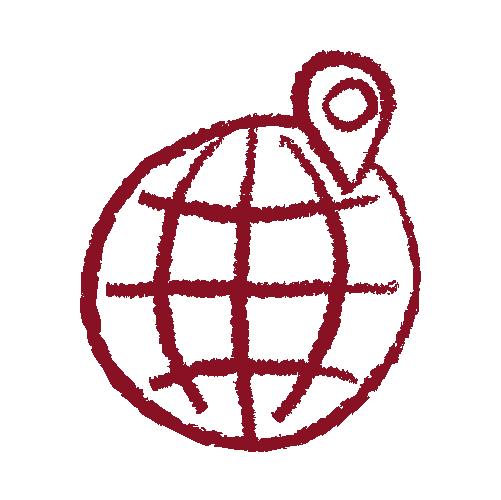 Hand drawn globe icon in garnet