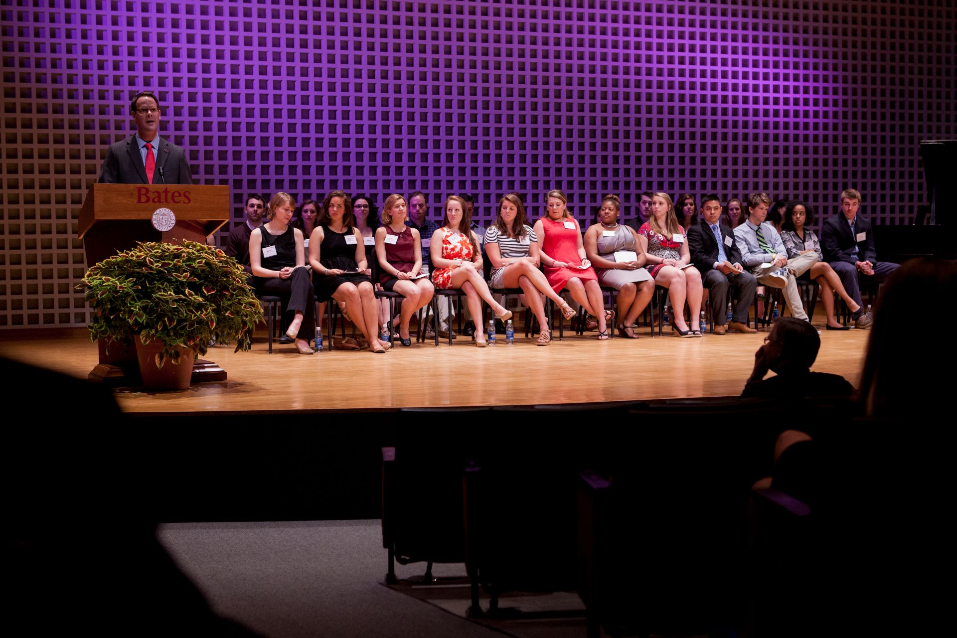 The College Key inducts new student members during a ceremony in Olin Arts Center on May 23, 2014. (Sarah Crosby/Bates College)