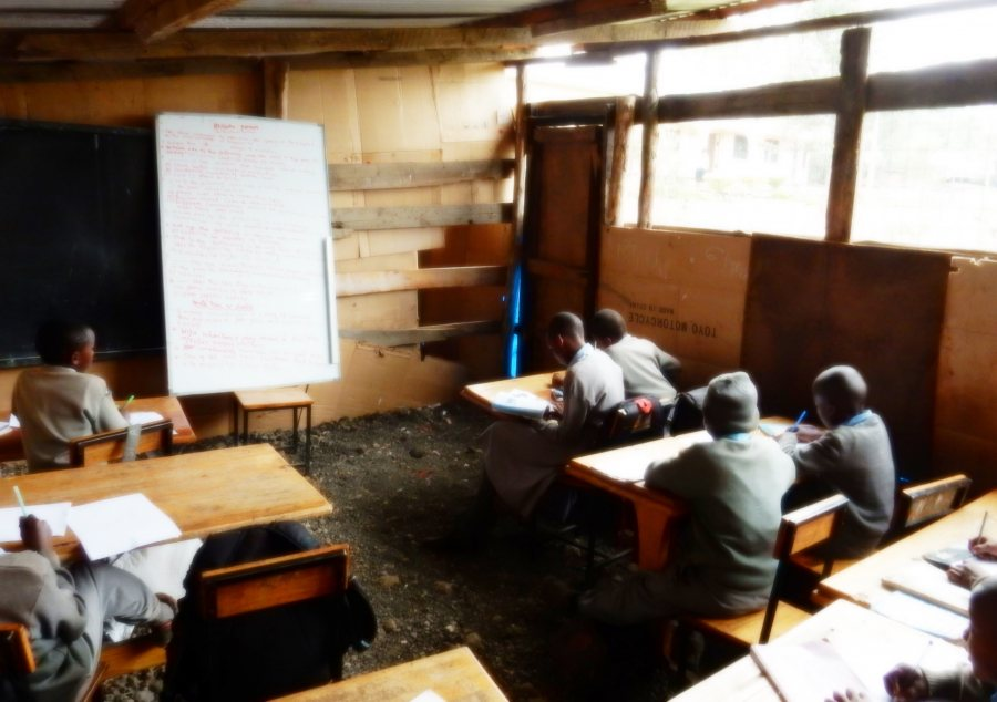 The fifth-grade classroom at the Maasai Joy Children's Centre, where Bruce Fryer '79, funded by a Barlow Alumni Travel Grant, taught in summer 2015. Photo courtesy of Bruce Fryer '79.