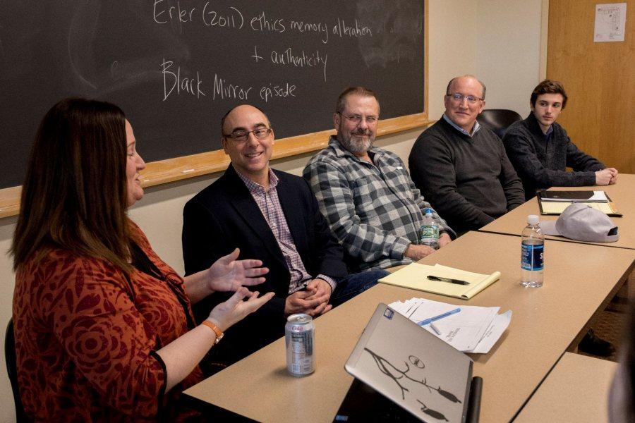 "College Key Distinguished Alumni in Residence Program 2018 Edward G. Meloni, Jr., Ph.D. '91 Professor of Psychiatry, McLean Hospital visits Professor of Neuroscience Nancy Koven's ""Embodied Cognition, Technoculture, and Future of Identity"" course. Also present, Jeff Sturgis '69, P'93, College Key president, Steve Brackett '85, P'22 and Stephen Brackett '22."