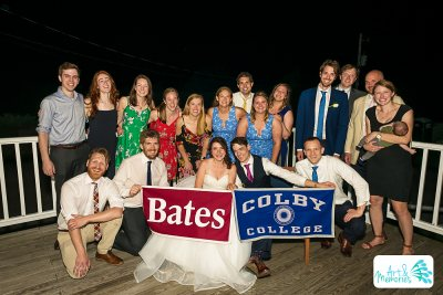 """This photo was taken at my wedding this summer. My husband is a Colby grad, so we decided to take a joint photo and I thought this one came out well and shows how well we can all get along with our rivals :)"" — Katie Black '12 Back row, left to right: Connor Pacala '12, Alexa Hiley '12, Katie Thorn '12, Becca Gugliotti '12, Tessa Pals '12, Caylin Carbonell '12, Jeff Higgins '12, Leah Maciejewski '12, Nina Wolinsky '12Front row, left to right: John Weidman '12, Michael Dorfman '12, Katie Black '12"