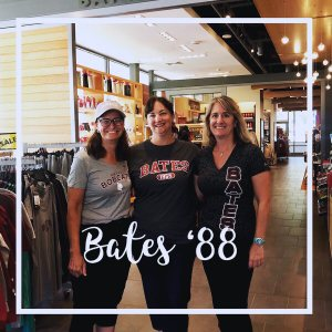 "Tracy Camenisch-Young Mary Gonzales Laura Young, Class of '88""Tracy's first visit back to Bates in 20 years! A stop at the new Bates College Store to get new gear was a must!!"""