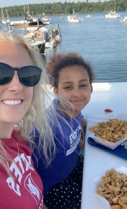 """Getting some last minute summer fried clams at Harraseeket Seafood in Freeport with my daughter, 9yr old Gabrielle."" — Vanessa Williamson '07, Freeport, Maine"