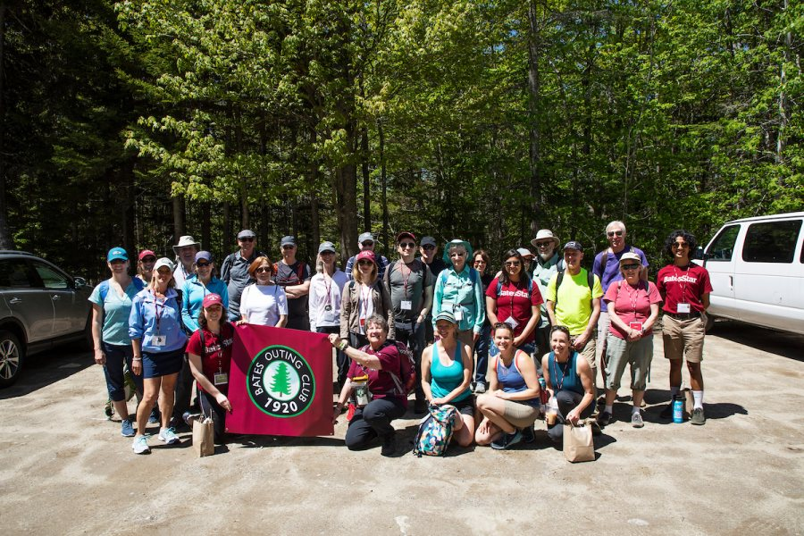 Moments from the Outing Club: Coastal Hike at Bates-Morse Mountain Conservation Area on June 7, 2019. Bates Conservation Area Director Laura Sewall and former director Judy Marden '66 led a four-mile hike through the natural communities and varied terrains to Seawall Beach. Bates manages this resource for research and educational purposes and is conducting environmental research throughout the area.