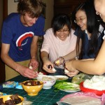 Learning to cook traditional Vietnamese lunch with local high school students.