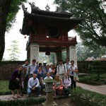 Visiting the Temple of Literature, Hanoi.