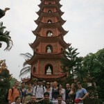 Visiting Stupa at Tran Quoc Temple, Hanoi.