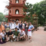 At the Tran Quoc Temple, next to West Lake, Hanoi.