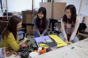 Studio art students