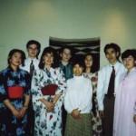 International Dinner in 1992 (Clockwise from the left, Yoko, Aidrian, Katharina, Steve, Ofuji-sensei, Mariko, ??, Kiyomi)