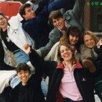 "April 13, 1993, JPN402 after a party at ""Chopsticks""  (Clockwise from the left, Liz Dempsey '93, Gabe Lee '93, Mark Doctoroff '94, Barnaby Donlon '93, Kim Donohue '93, Anna Louise Englund '93, Megan Hollis '93)"