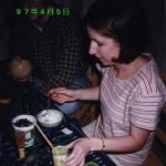 "Kerry Opdyke '97, making ""macha"" tea ice cream, April 5, 1997, JPN202~402 Party"